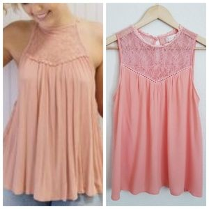 Altar'd State Peach Lace Vicotrian Sleeveless Top